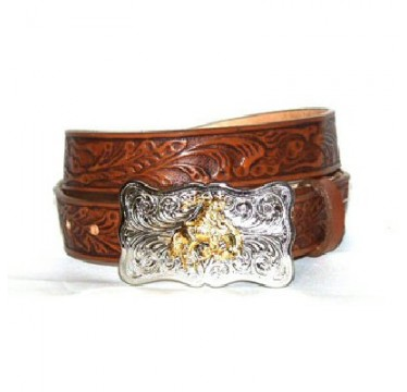 Justin Kids Belt Tooled Floral Leather with Buckle Kids Cowboy Belt