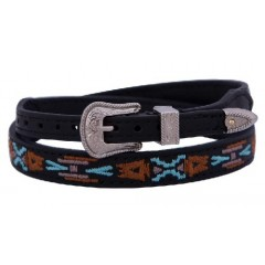 M&F Western Products Double S Collection Aztec Embroidered Leather Hat Band