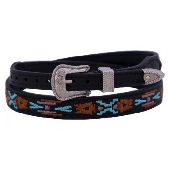M&F  Double S Collection Aztec Embroidered Leather Hat Band