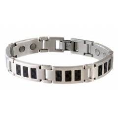 Sabona® Black Carbon Fiber Stainless Mens Magnetic Bracelet