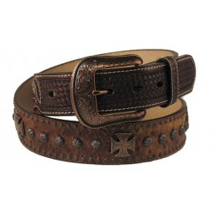 3D Chocolate Brown Cross Concho Mens Western Belt