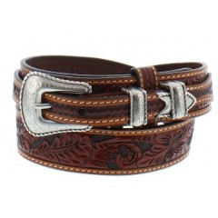 3D Hand-Tooled Floral Tan Mens Ranger Western Belt