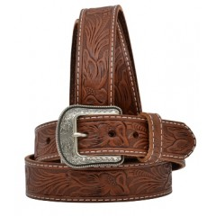 3D Hand-Tooled Floral Brown Mens Western Belt
