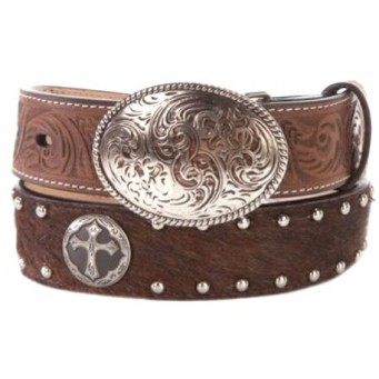 3D Kids Brown Hair On Cross Concho Kids Western Belt