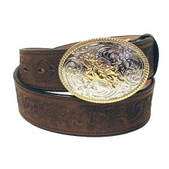 "3D Kids 1 1/4"" Brown Tooled Western Belt"