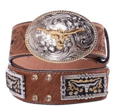 3D Kids Brown Leather and Longhorn Concho Kids Western Belt
