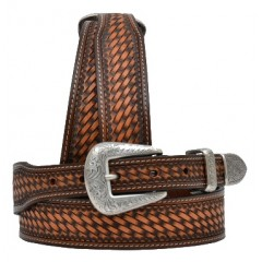 3D Medium Brown Basketweave Mens Western Belt