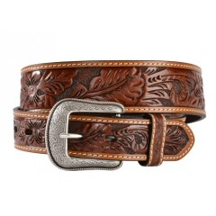 3D Hand-Tooled Floral Tan Mens Western Belt