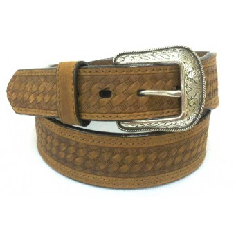 3D Basketweave Full-Grain Leather Mens Belt