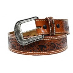 3D Hand-Tooled Natural Mens Western Belt