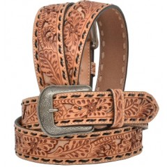 3D Floral Embossed Tan and Black Mens Western Belt