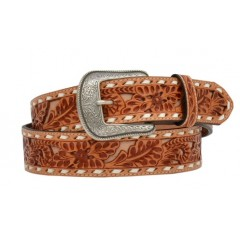 3D Floral Embossed Mens Western Belt