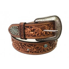 3D Tan and Turquoise Mens Western Belt