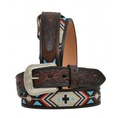 3D Dark Brown Beaded Mens Western Belt