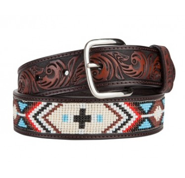 3D Kids Brown Leather with Beaded Inlay Kids Western Belt