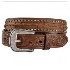 3D Leather Barbed Wire and Studs Western Mens Belt