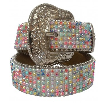 3D Kids Belt White Leather and Multicolor Crystals Western Girls Belt