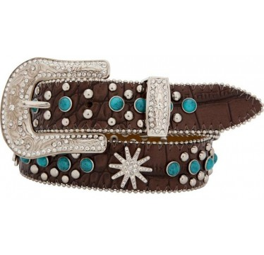 3D Kids Belt Brown Gator Print and Turquoise Stones Western Girls Belt