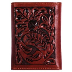 3D Tooled Tan Leather Western Tri-Fold Wallet