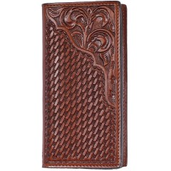 3D Tan Basketweave and Floral Western Rodeo Wallet