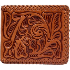 3D Natural Floral and Lacing Western Bifold Wallet