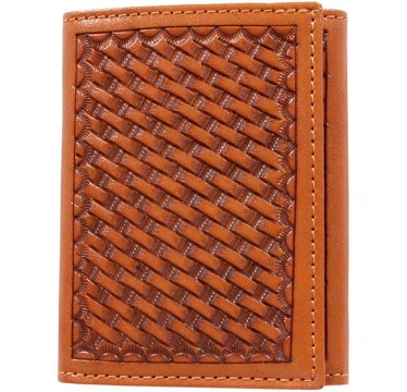 3D Natural Basketweave Hand-Tooled Leather Western Trifold Wallet