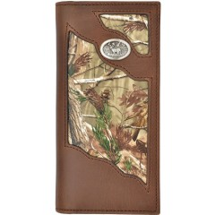 3D Badger Camo and Brown Leather Outdoor Rodeo Wallet