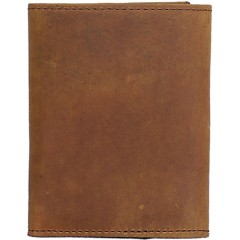 3D Brown Distressed Leather Basic Trifold Wallet