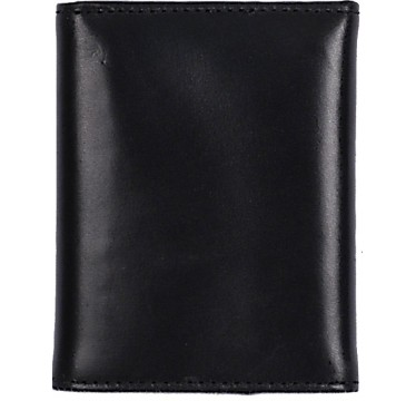 3D Black Waxy Leather Basic Trifold Wallet