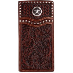 3D Basketweave and Floral with Star Concho Tan Western Rodeo Wallet