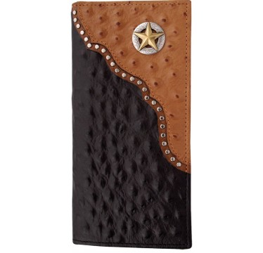 3D Black and Cognac Ostrich Print and Star Concho Leather Western Rodeo Wallet