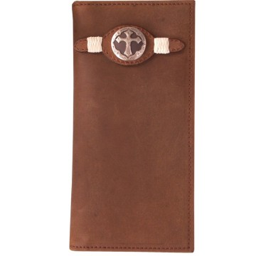 3D Brown Distressed Leather and Cross Concho Western Rodeo Wallet
