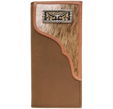 3D Brown Distressed Leather and Hair-On with Concho Western Rodeo Wallet
