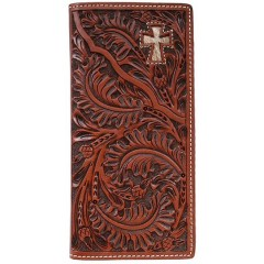 3D Tooled Tan Leather Hair On Cross Inlay Western Rodeo Checkbook Cover