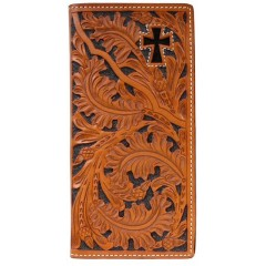 3D Tooled Natural Leather Hair on Cross Inlay Western Rodeo Checkbook Cover