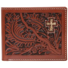 3D Tooled Tan Leather Hair On Cross Inlay Bi-Fold Wallet