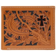 3D Tooled Natural Leather Hair On Cross Inlay Bi-Fold Wallet