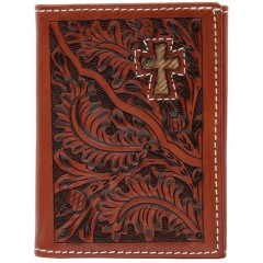 3D Tooled Tan Leather Hair On Cross Inlay Tri-Fold Wallet