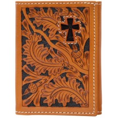 3D Tooled Natural Leather Hair On Cross Inlay Tri-Fold Wallet