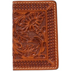 3D Natural Floral and Basketweave Basic Card Case