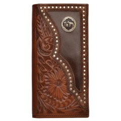 3D Floral Tooled Inlay Silver Studs Praying Cowboy Concho Checkbook Cover