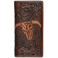 3D Tan Floral Tooled Rodeo Wallet with Steer Head