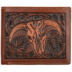 3D Tan Floral Tooled Bi Fold Wallet with Steer Head
