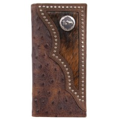 3D Brown Distressed Vintage Ostrich Print and Brown Trim Leather Western Rodeo Wallet