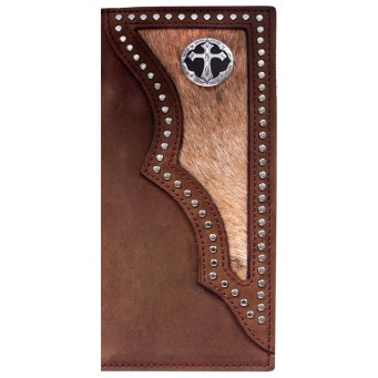 3D Dark Brown Distressed Leather and Hair-On Inlay Western Rodeo Wallet