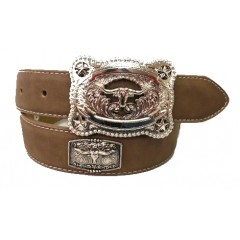 3D Silver Longhorn Concho Kids Western Belt