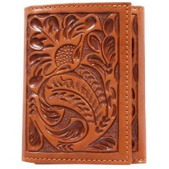 3D Tooled Natural Leather Western Tri-Fold Wallet