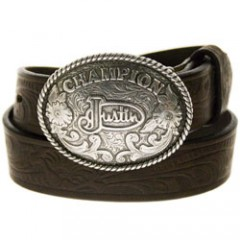 Justin Kids Tooled Floral Tan Leather Kids Western Belt