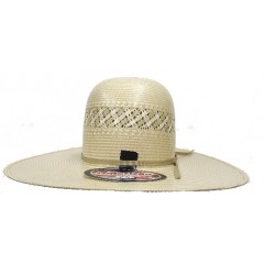 "American Hat Company Cowboy Hat Two-Tone 5.5"" Open Crown 4.5"" Brim Cream Hat Band Straw Cowboy Hat"