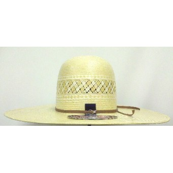 "American Hat Company Two-Tone 5.5"" Open Crown 5"" Brim Whiskey Straw Cowboy Hat"